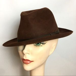 Vintage 50s Fedora Christy's London Brown Suede